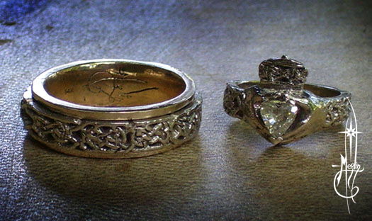 Gold Knotwork Wedding Rings