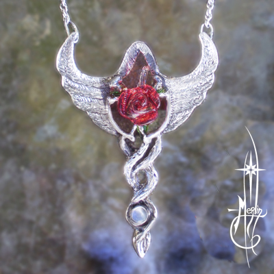 Rose in Flight Amulet